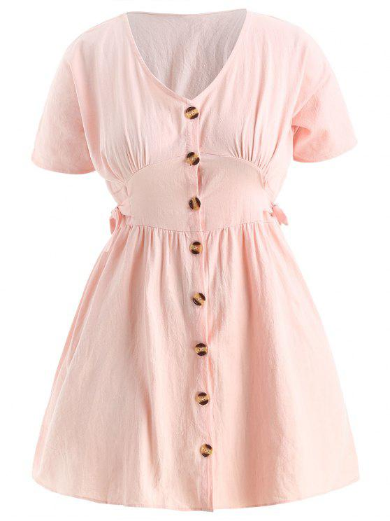 Plus Size Knotted Button Up Dress LIGHT PINK