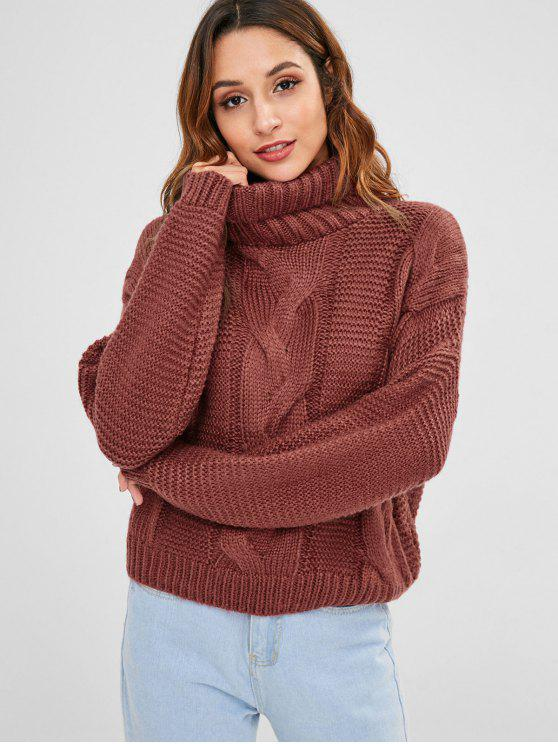 best Cable Knit Turtleneck Chunky Sweater - MAROON ONE SIZE