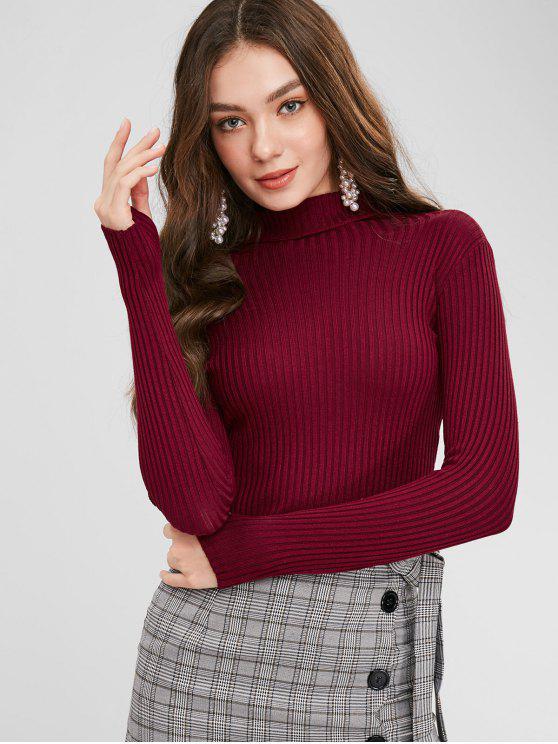outfits Armhole Ribbed Turtleneck Sweater - FIREBRICK ONE SIZE
