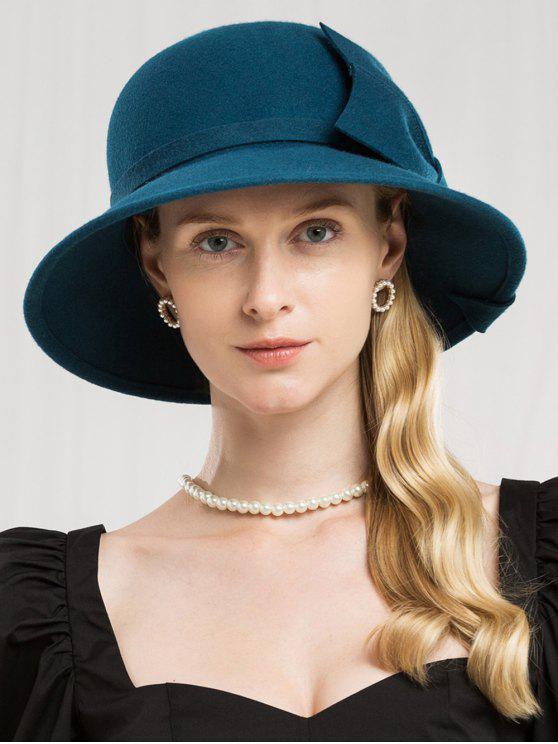 Chapéu elegante de cor sólida lado bowknot - Azul pavão