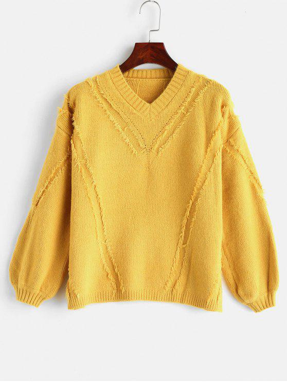 fancy Frayed Sweater with V Neck - YELLOW ONE SIZE
