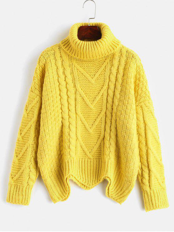 shop Chunky Knit Turtleneck Sweater - YELLOW ONE SIZE