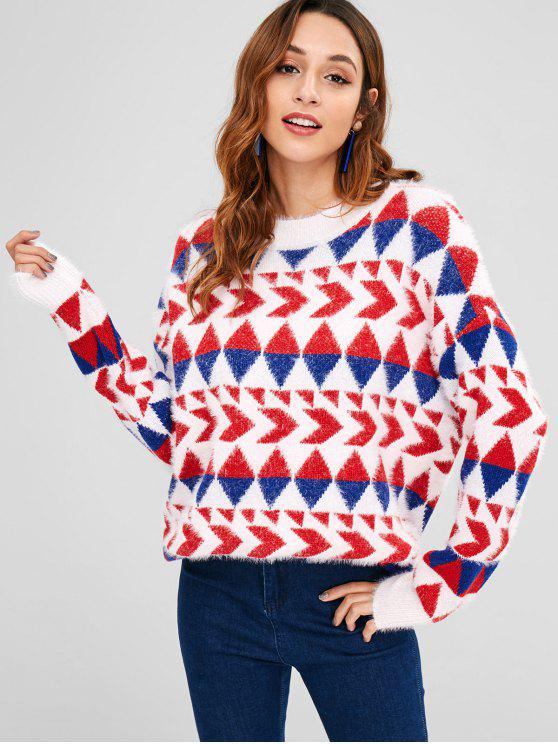 fashion Geometric Graphic Fluffy Sweater - MULTI ONE SIZE
