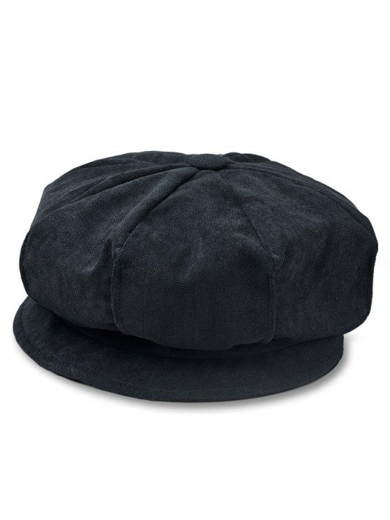 unique Solid Color Corduroy Octagonal Cap - BLACK