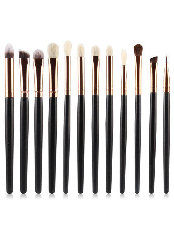 sale Professional 12Pcs Ultra Soft Cosmetic Eyeshadow Blending Eyebrow Brush Suit - BLACK