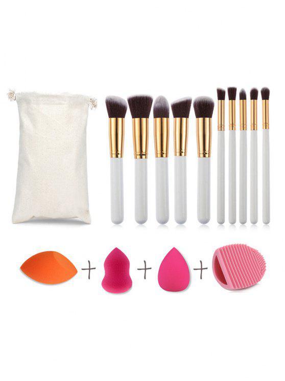 Ensemble de Brosse de Maquillage 10 Pièces d'Eponge Bouffante de Maquillage 3 Pièces et d'œuf de Nettoyage Cosmétique - Multi