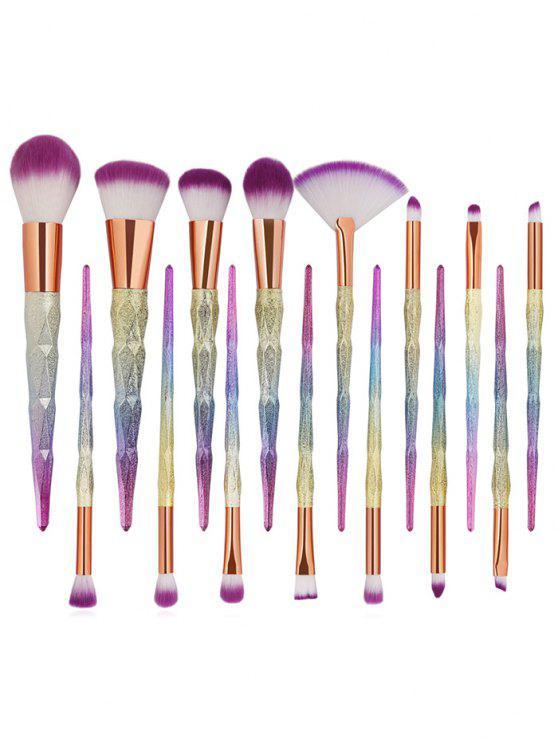 shops 15Pcs Extra Soft Fiber Hair Eyeshadow Blush Powder Fan Brush Collections - MULTI-A