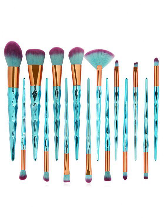 trendy 15Pcs Extra Soft Fiber Hair Eyeshadow Blush Powder Fan Brush Collections - MULTI-D
