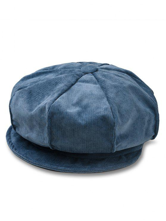 outfits Solid Color Corduroy Octagonal Cap - MARBLE BLUE