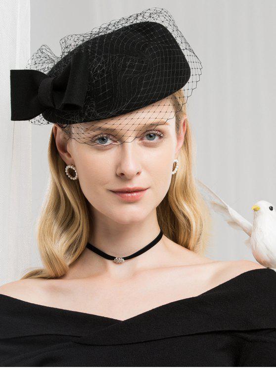 Élégant béret en laine à mailles bowknot - Noir
