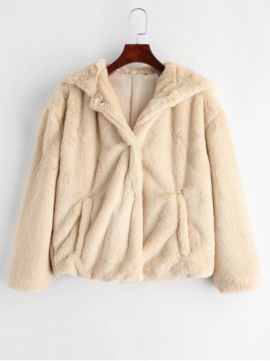 new Hooded Fluffy Jacket with Drop Shoulder - WARM WHITE M