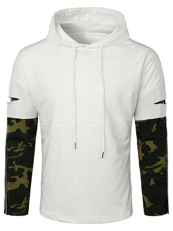 fancy Lay Open Camo Sleeve Drawstring Hoodie - WHITE XL
