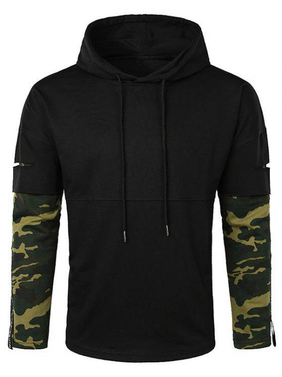 best Lay Open Camo Sleeve Drawstring Hoodie - BLACK 2XL