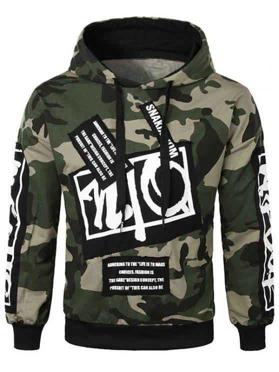 hot Casual Letter Applique Camo Hoodie - ARMY GREEN L