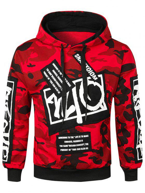 outfit Casual Letter Applique Camo Hoodie - RED XL