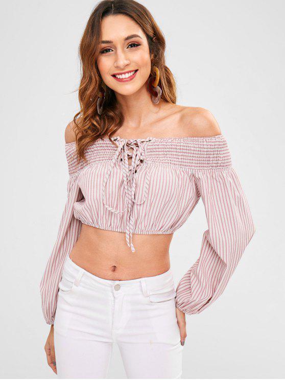 trendy ZAFUL Stripe Lace-up Smocked Blouse - PINK L