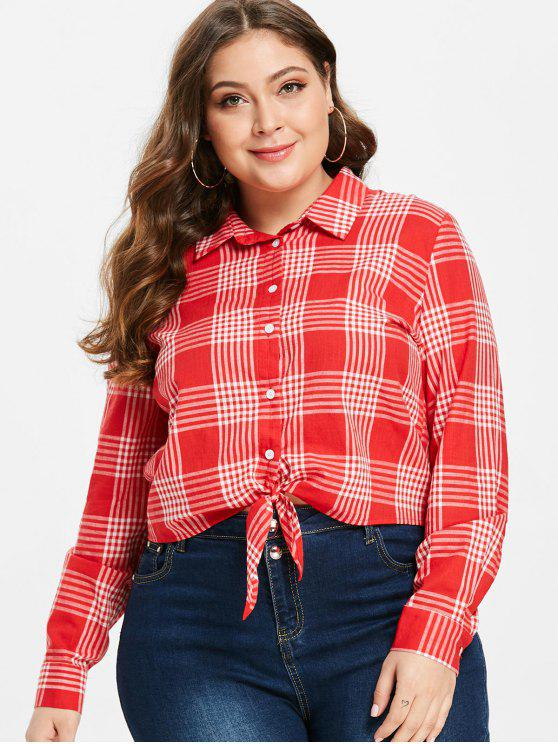 buy ZAFUL Tie Front Plaid Plus Size Shirt - LAVA RED 2X