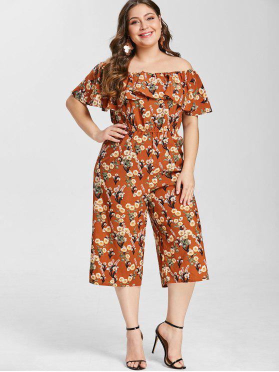 ZAFUL Plus Size Floral Imprimir Solto Jumpsuit - Caramelo 3X
