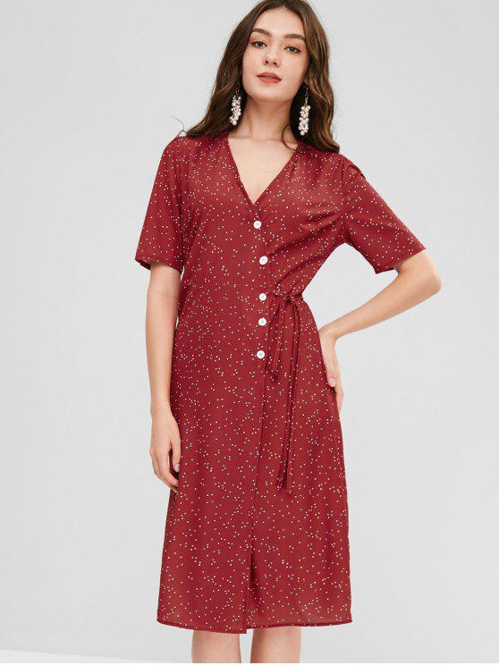 81e22e817c 30% OFF] 2019 Polka Dot Button Down Wrap Dress In CHERRY RED | ZAFUL