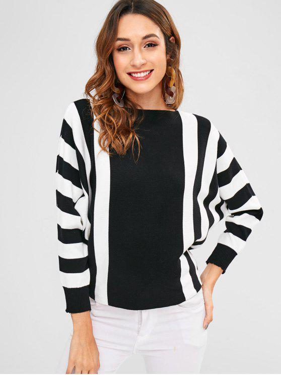 affordable Dolman Sleeves Two Tone Sweater - BLACK ONE SIZE
