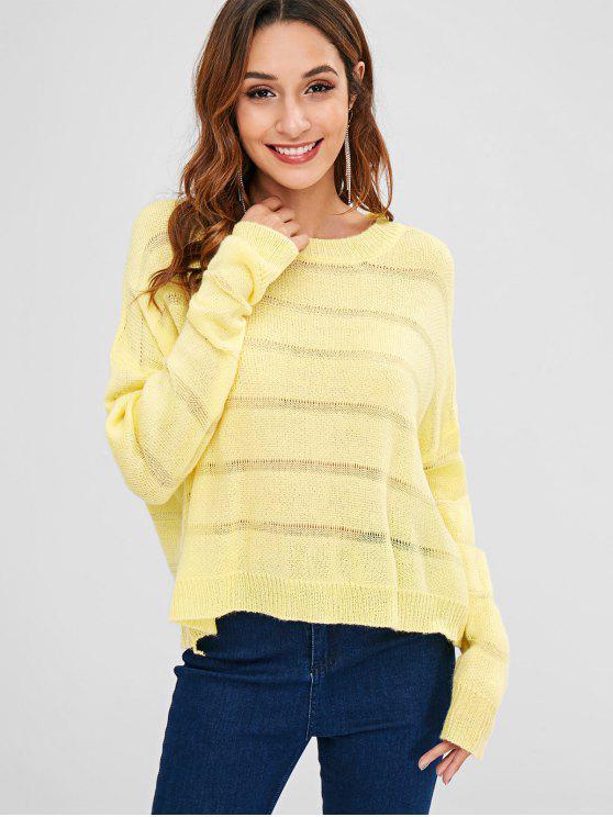 buy Loose Fit Solid Color Sweater - YELLOW ONE SIZE