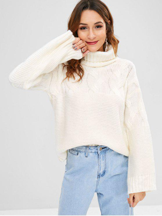 hot Cable Knit Turtleneck Boxy Sweater - WHITE ONE SIZE