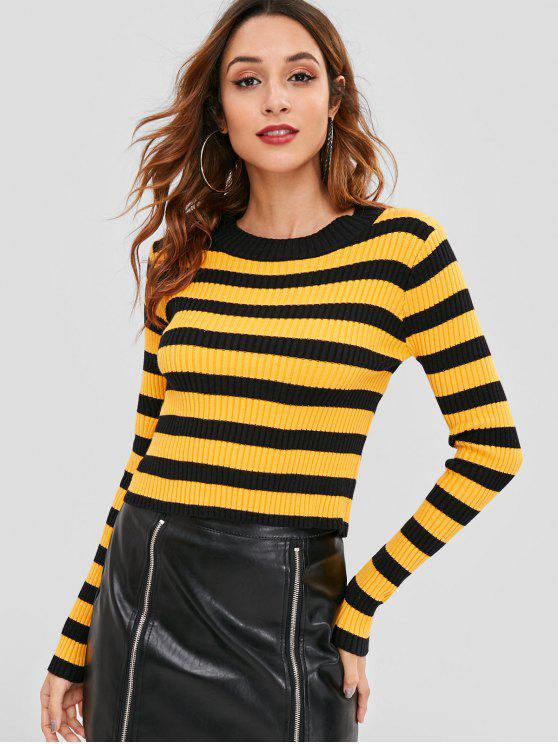 2019 Ribbed Slim Striped Sweater In Bright Yellow One Size Zaful