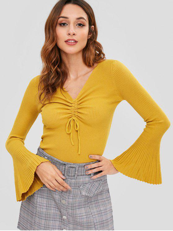 outfits Flare Sleeve Slim Ribbed Sweater - GOLDEN BROWN ONE SIZE