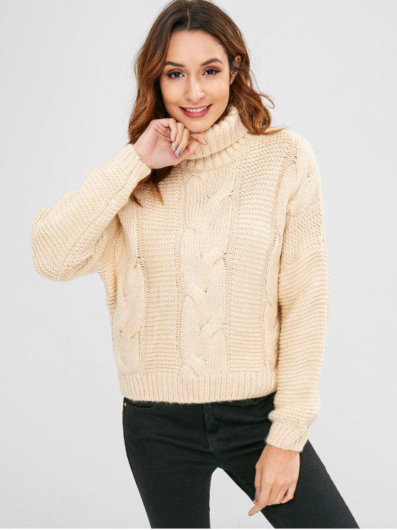 womens Cable Knit Turtleneck Chunky Sweater - BEIGE ONE SIZE