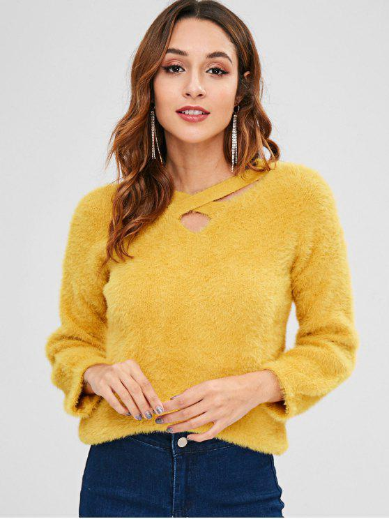 new Fuzzy Cross V Neck Sweater - GOLDEN BROWN ONE SIZE