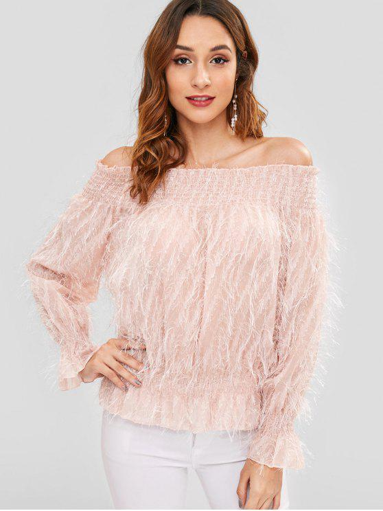 Schulterfrei Smocked Sheer Bluse - Orange Rosa Eine Größe