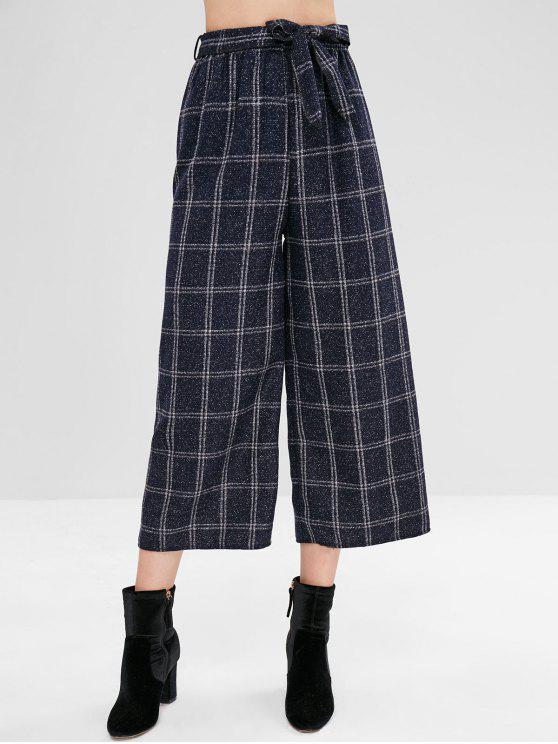 Belted Wide Leg Plaid Hose - Multi M