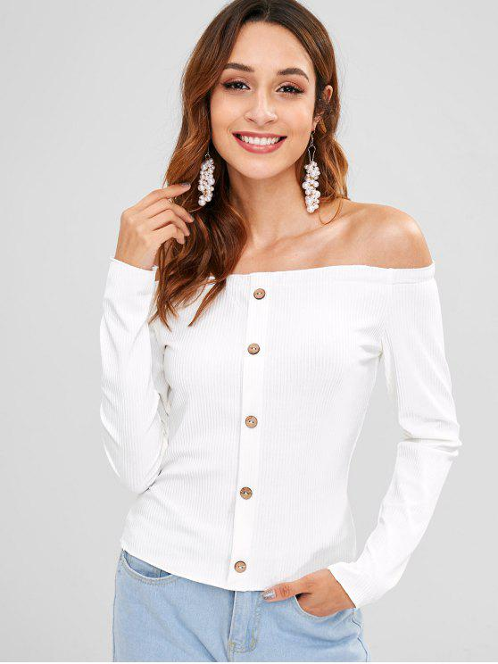 7deae14ed527f 37% OFF  2018 Buttoned Ribbed Off The Shoulder Top In WHITE L