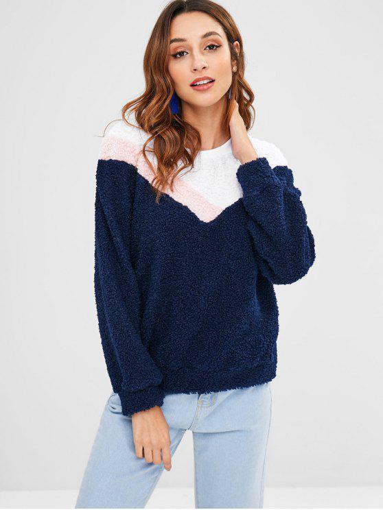 Camisola de tricô fofo Tricolor - Azul Escuro L