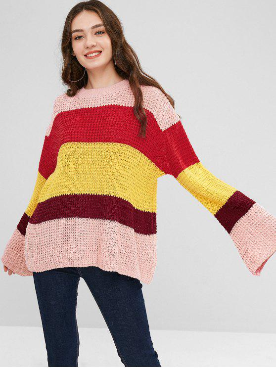 8da55a05a 27% OFF  2019 Bell Sleeve Striped Oversized Sweater In RED