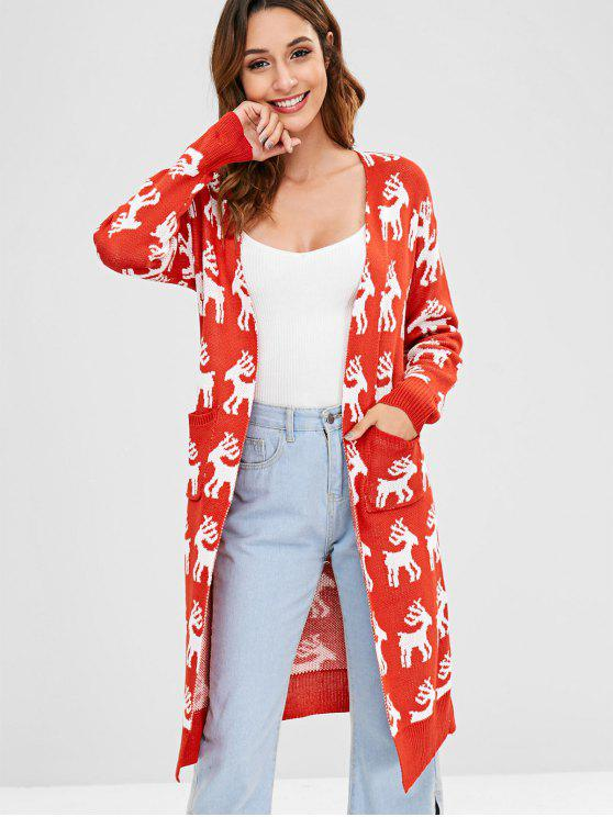 best Deer Jacquard Open Front Christmas Cardigan - RED M