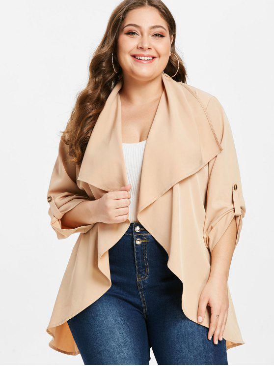 ZAFUL talla grande túnica abrigo con cinturón - Albaricoque 4X