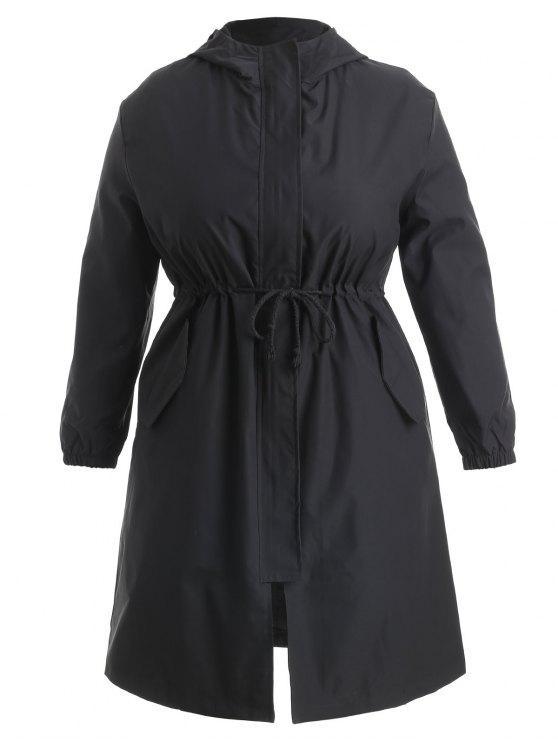 Drawstring talla grande abrigo con capucha - Negro 1X