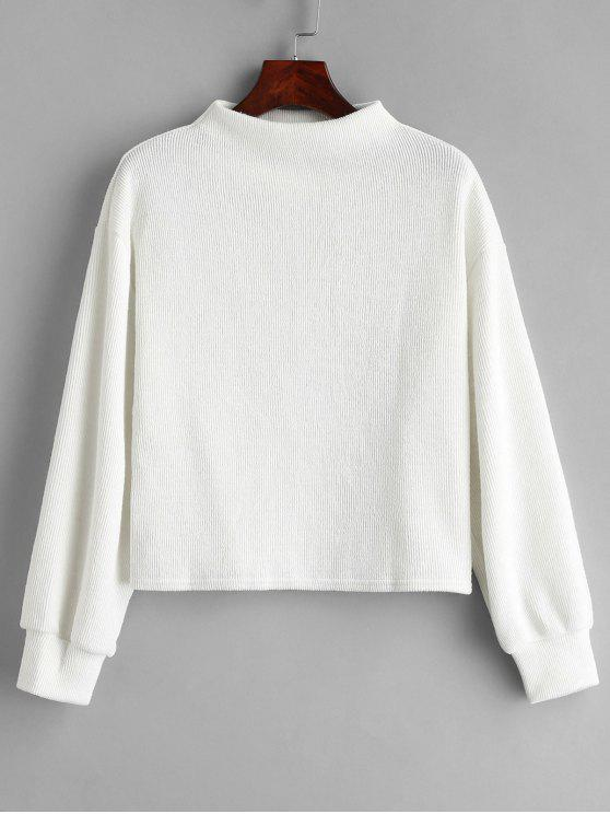 Einfaches Sweatshirt mit Slash-Ausschnitt - Weiß Eine Größe