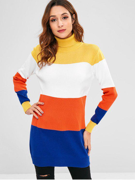 Jersey de cuello alto color block - Multi Única Talla