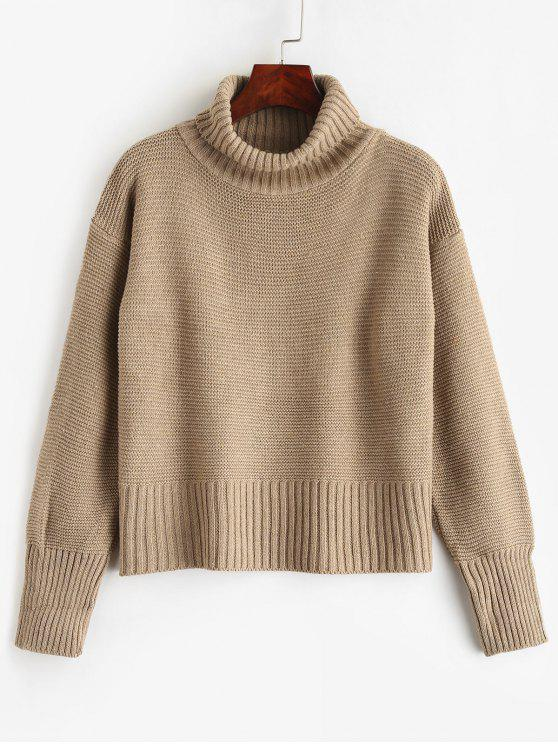 affordable Plain Pullover Turtleneck Sweater - CAMEL BROWN ONE SIZE