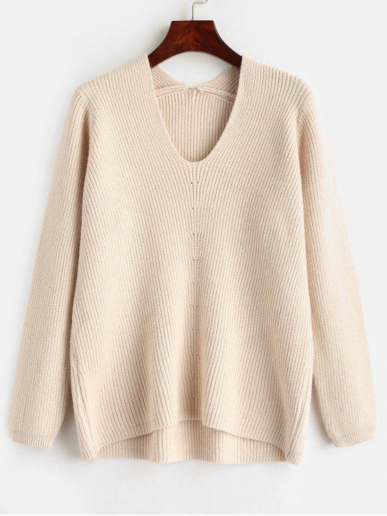 sale V Neck Solid Color Sweater - WARM WHITE ONE SIZE