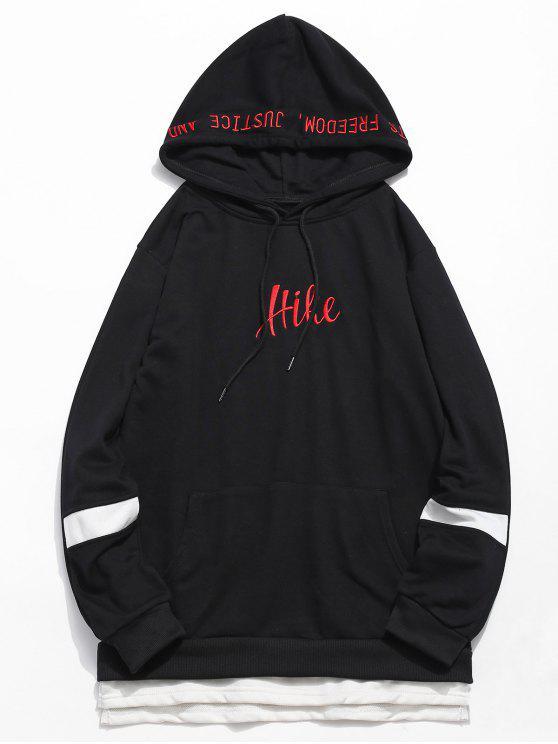 women's Side Split Embroidery False Two Piece Hoodie - BLACK S
