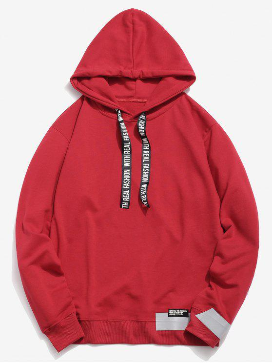 latest Letter Print Ribbon Embellished Hoodie - RED XL