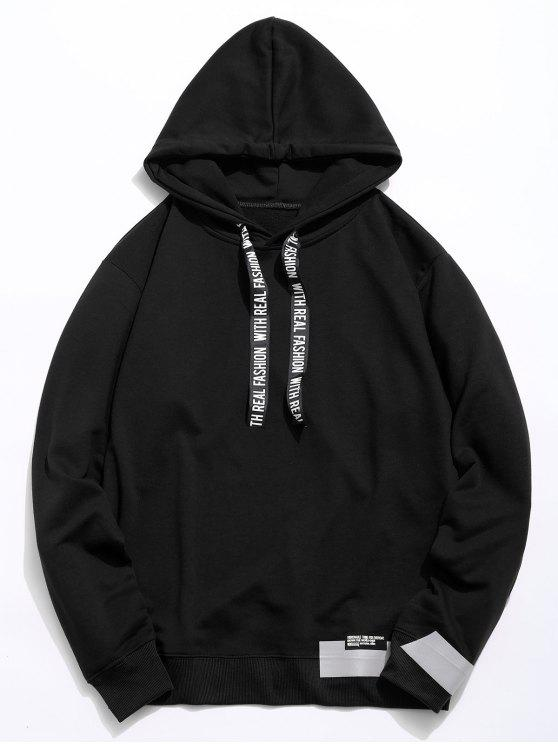 unique Letter Print Ribbon Embellished Hoodie - BLACK XL