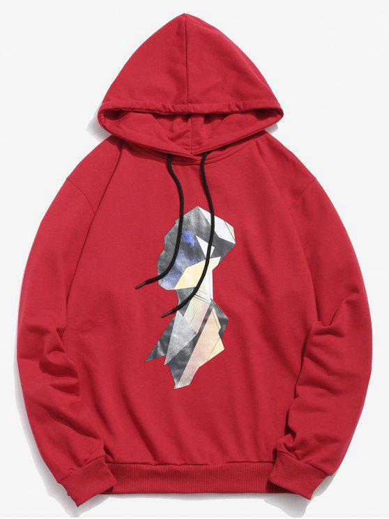 shop Colorful Geometric Head Pattern Hoodie - RED 2XL