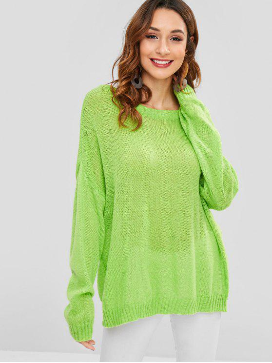 27% OFF  2019 Oversized Tunic Drop Shoulder Sweater In YELLOW GREEN ... 165cb326d