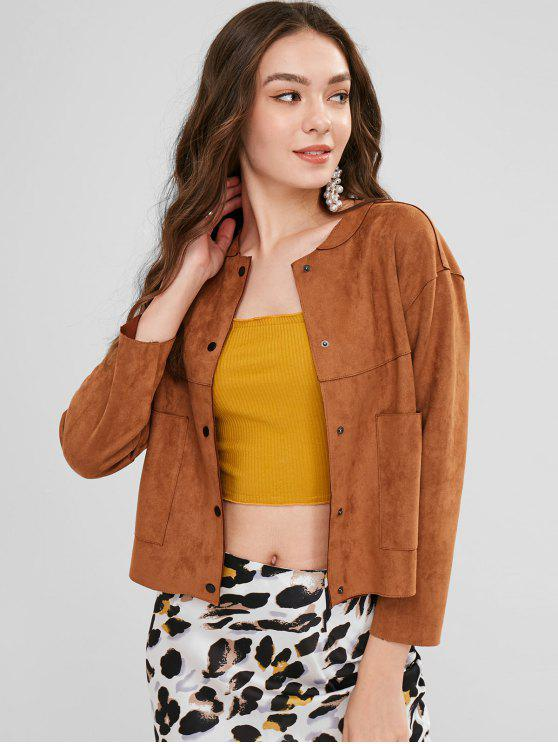 outfits Drop Shoulder Suede Jacket with Pockets - BROWN L