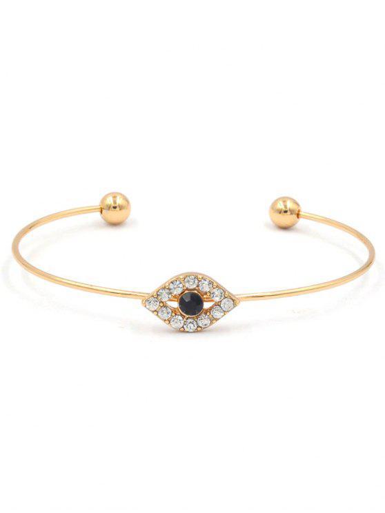 buy Sparkly Rhinestone Evil Eye Cuff Bracelet - GOLD