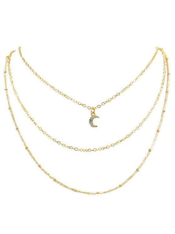 womens Rhinestone Moon Multi Layers Elegant Necklace - GOLD